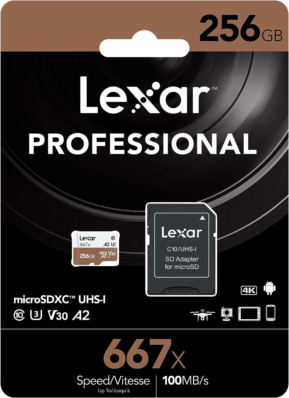 Lexar Professional 256GB MicroSD XC Memory Card 667x UHS-3 Class 10 for Asus Zenfone 6 Live Max Plus M2 Shot Pro with Mini MemoryMarket MicroSD Memory Card Reader