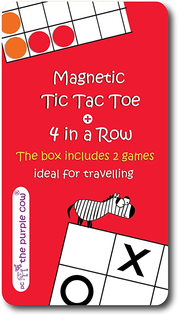 Magnetic Travel Tic Tac Toe - Includes 4 in a Row Game Too - Car Games