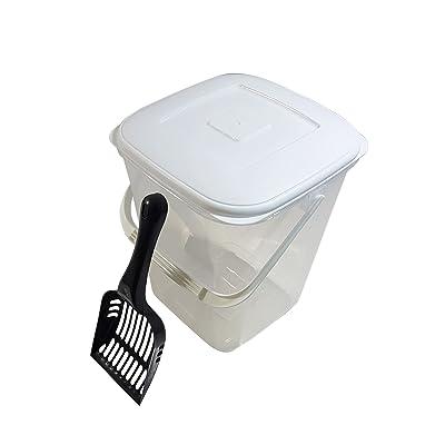 10L RANGEMENT NOURRITURE boîte & noir cuillère sans BPA pot en plastique avec couvercle et poignée