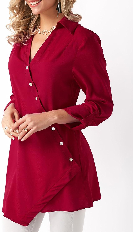 Karlywindow Womens Casual V Neck Blouse Long Sleeve Button Irregular Hem Wrap Tunic Tops