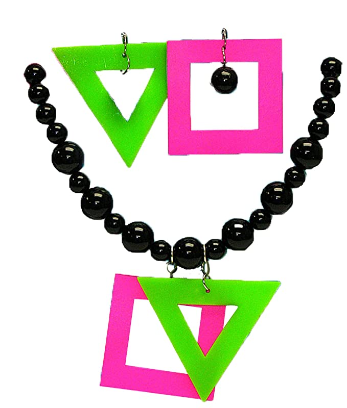 80s Costumes, Outfit Ideas- Girls and Guys Forum Womens Neon Earrings and Necklace Set $11.99 AT vintagedancer.com