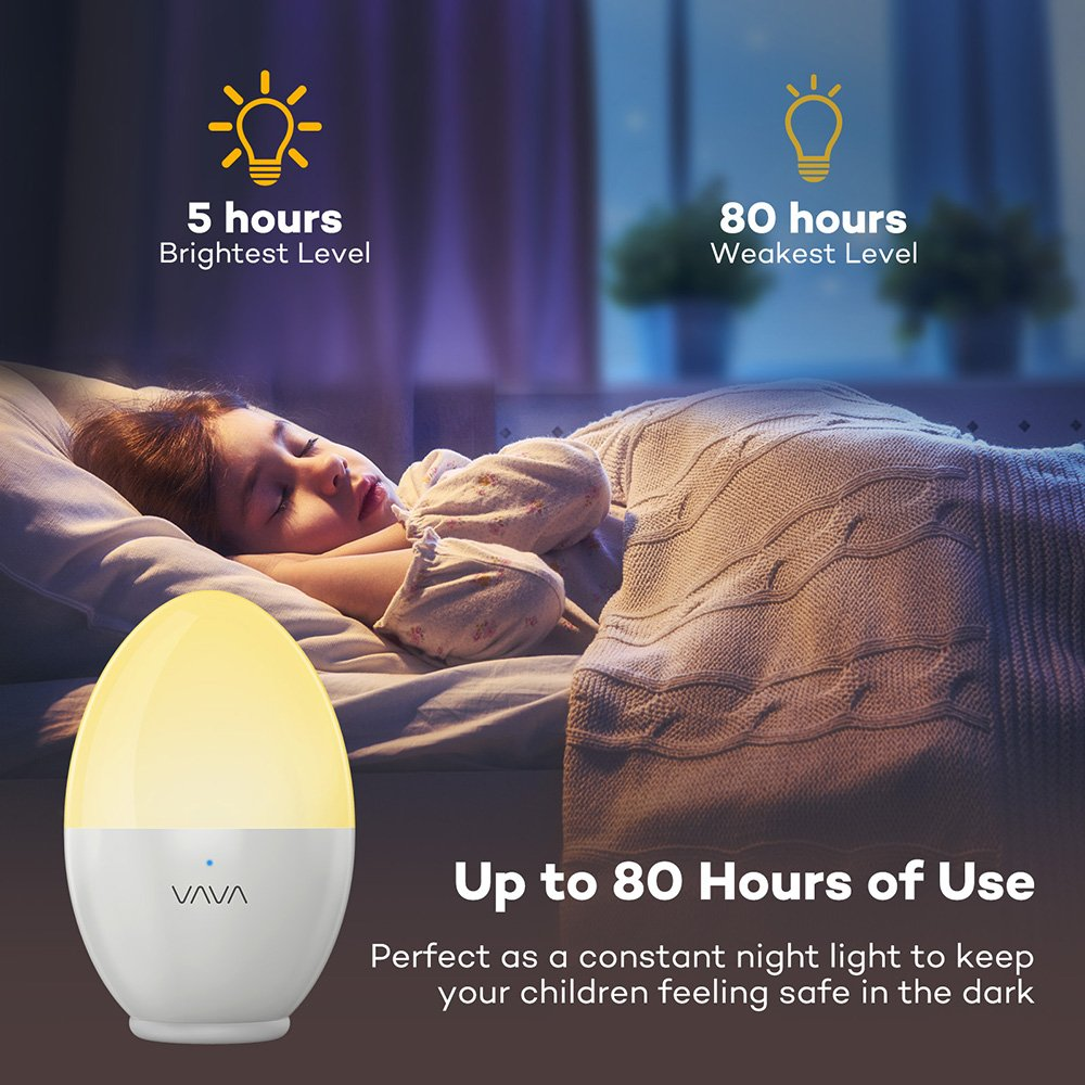 VAVA Night Lights for Kids, LED Nursery Lamp with Free Stickers, Safe ABS+PP, Adjustable Brightness Warm White/Cool White, 80 Hours Runtime by VAVA (Image #5)