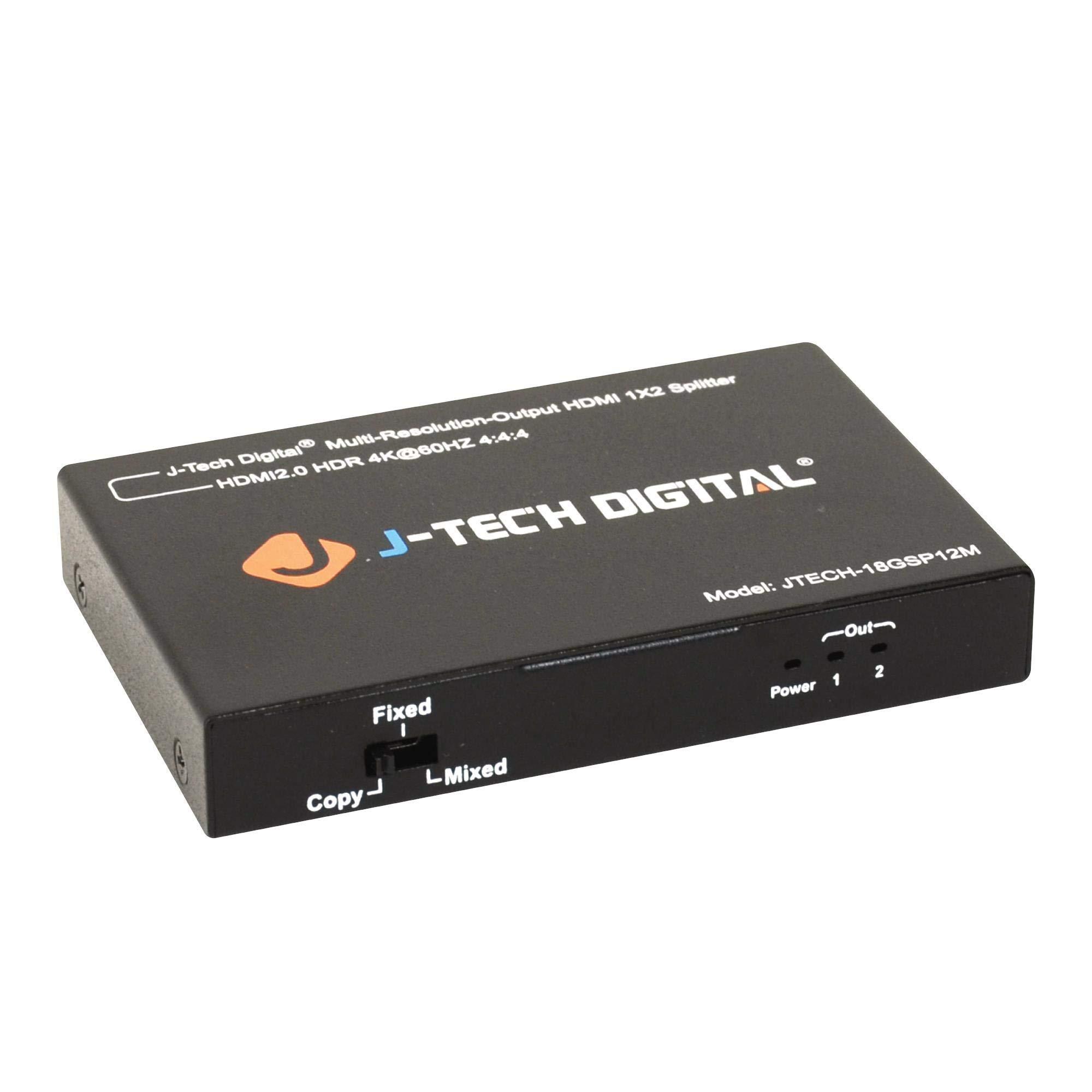 J-Tech Digital Scaler/Multi-Resolution Output (MRO) 18GBps 1x2 HDMI 2.0 Splitter HDR10/Dolby Vision 4K@60Hz 4:4:4 [JTECH-18GSP12M] by J-Tech Digital