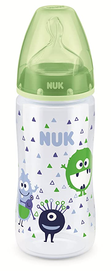 NUK First Choice+ - Biberón cuello ancho de silicona, talla M, 300 ml (surtidos)