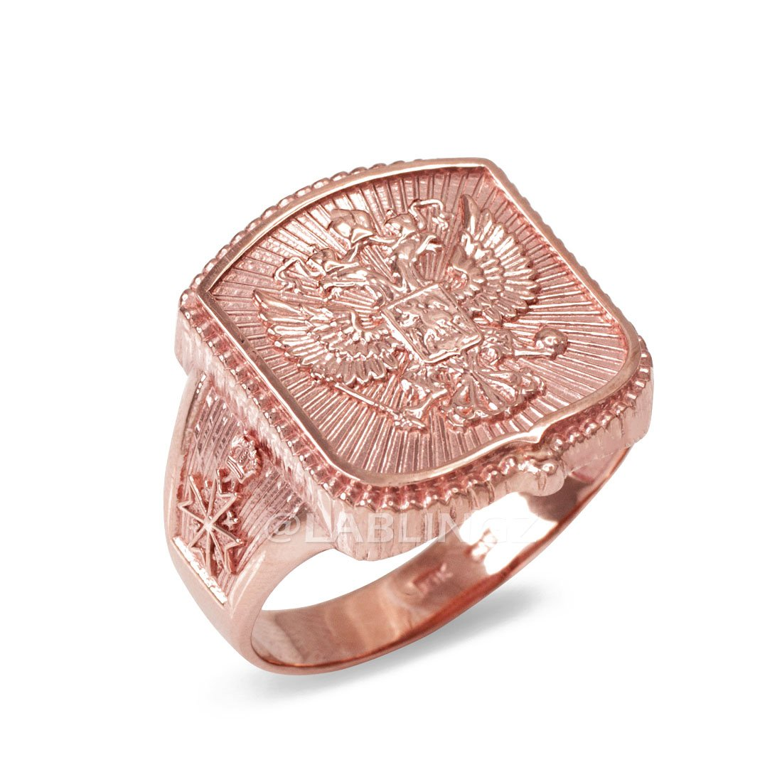 14K Rose Gold Russian Imperial Crest Mens Orthodox Cross Ring|Amazon.com