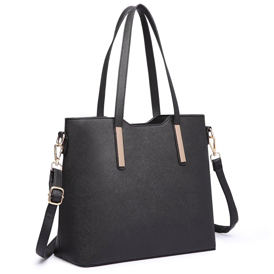 8ad81c93678 Miss lulu women fashion handbag shoulder bag purse faux leather tote  handbags set pieces black shoes
