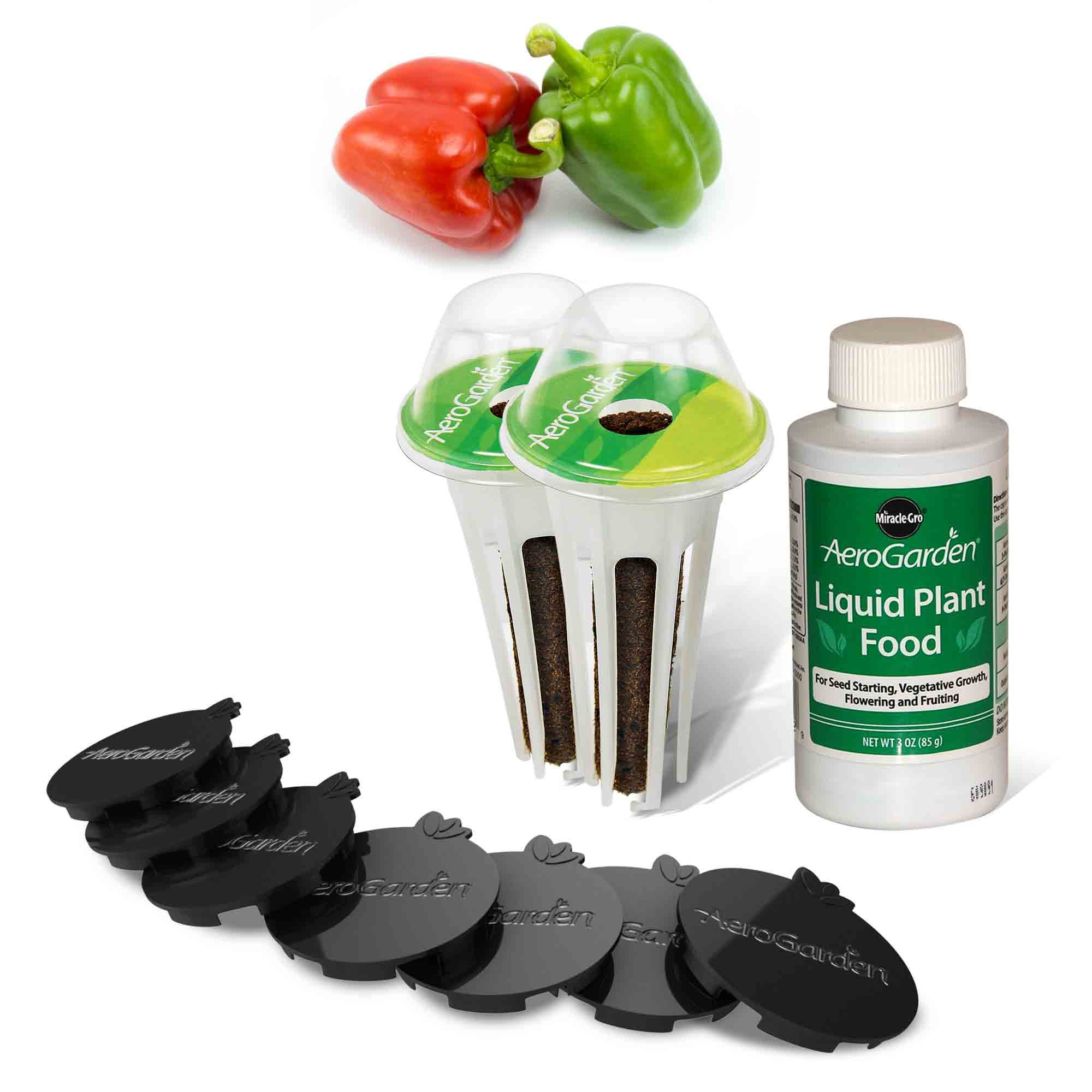 AeroGarden Sweet Bell Peppers Seed Pod Kit (2 pre-seeded Sweet Bell Pepper pods and 7 Plant Spacers)