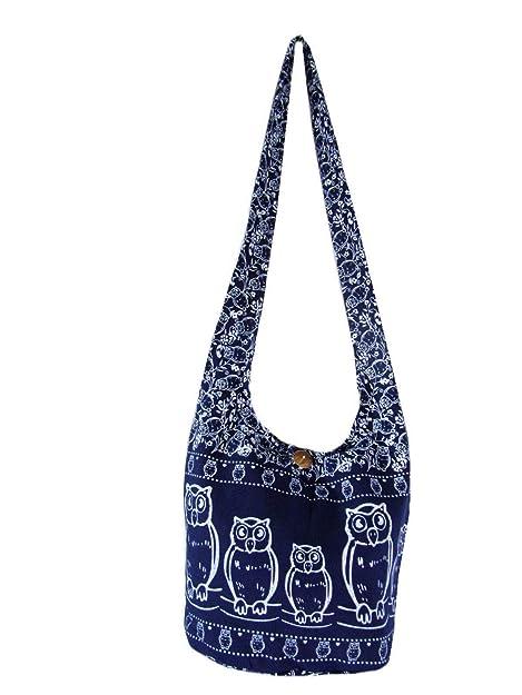 21b40e38536 Fully Lined Owl Hobo Crossbody Bag Hippie Shoulder Thai Boho Sling Medium  (Lined Navy Blue