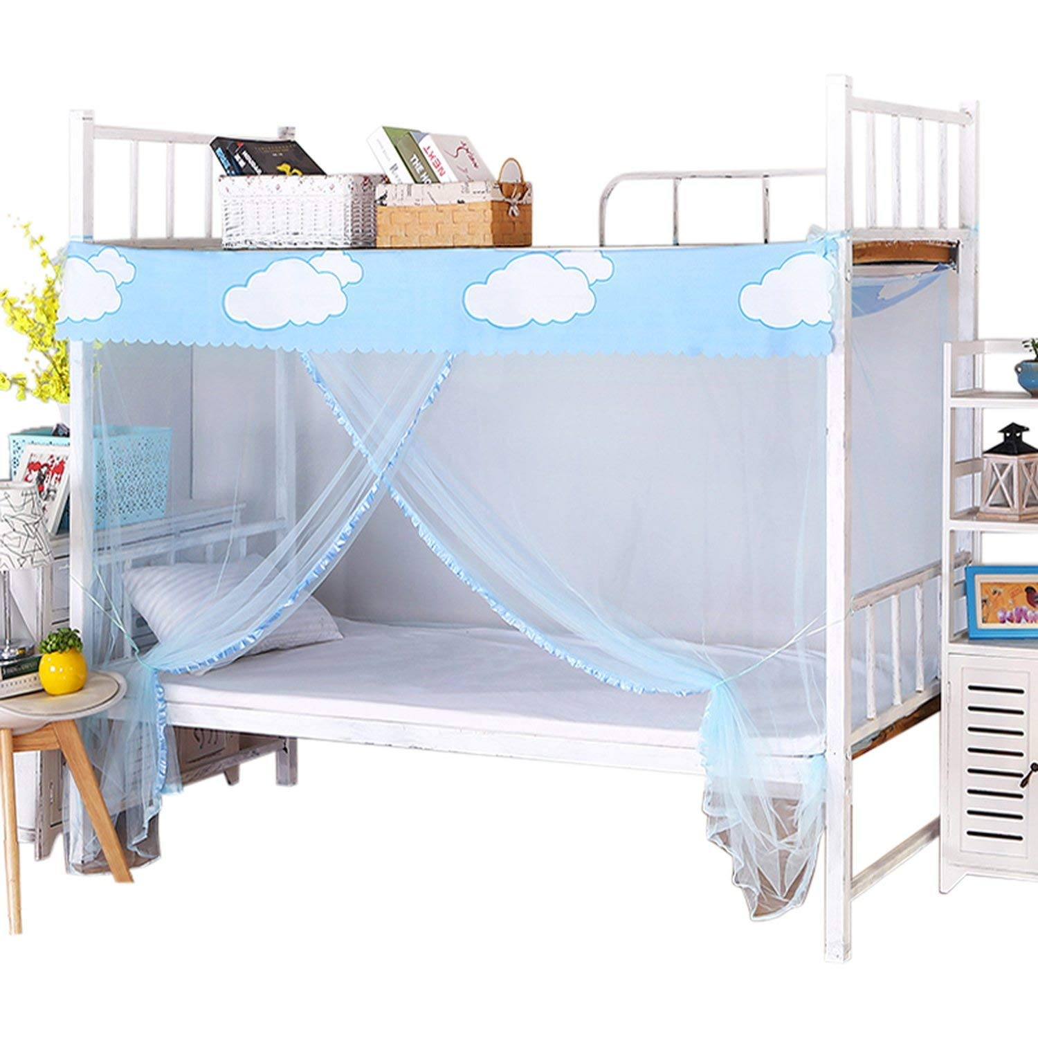Student Dormitory Mosquito Net 1.2M Single Bed Quadrate Zipper Nets 1.5M Home Repellent Tent Insect Reject Curtain,White,1.5M (5 Feet) Bed