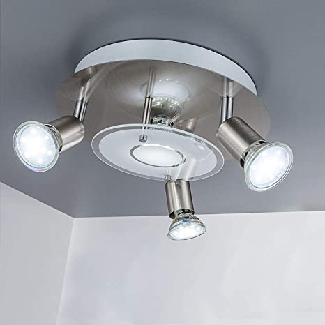 Amazon Com Dllt Modern Ceiling Spot Lights Fixtures 4 Light Round Flush Mount Directional Lighting Adjustable Track Lighting Kits For Kitchen Hallway Living Room Warm White Gu10 Bulbs Included Nickel Steel Home Improvement
