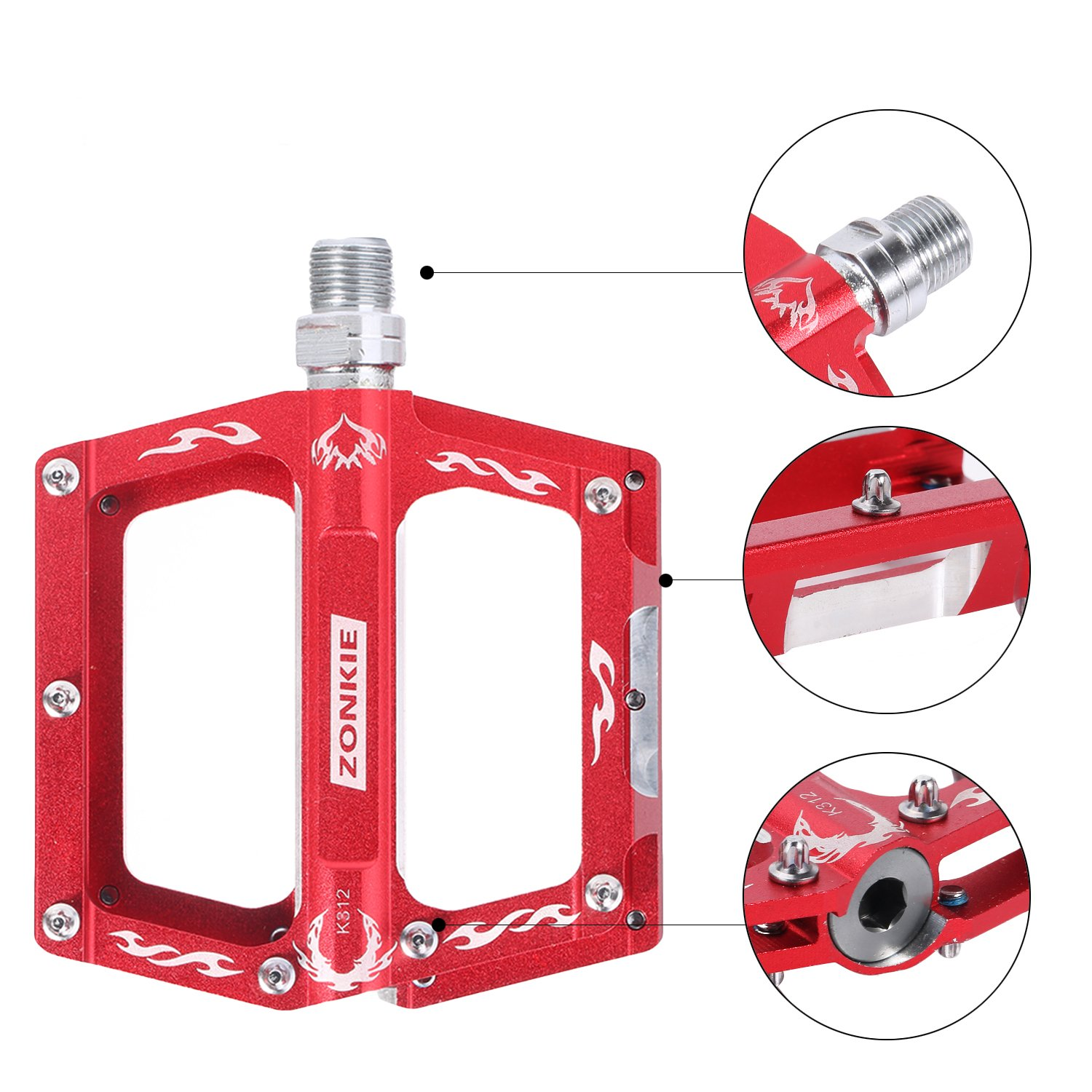 ZONKIE Bike Pedals,Mountain Bicycles Pedals Flat Aluminum Alloy Platform Sealed Bearing Axle