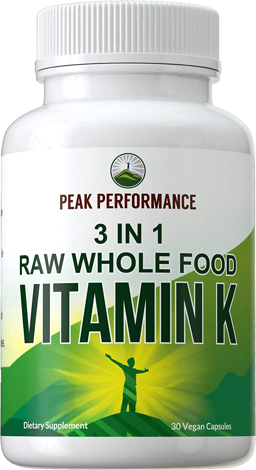 Raw Whole Food Vitamin K Vegan Capsules Supplement by Peak Performance. USA Sourced Vitamins K1, K-2 MK4 + K2 Natto MK7 and 25 Organic Vegetables + Fruits for Max Absorption. VIT K with K 2 and MK-7