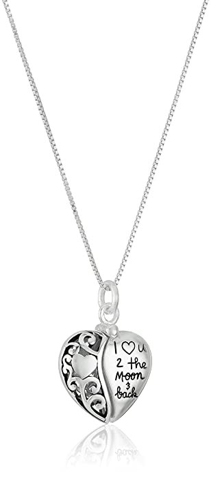 "ce7876a265 Sterling Silver Heart ""I Love U 2 The Moon and Back"" Pendant  Necklace"