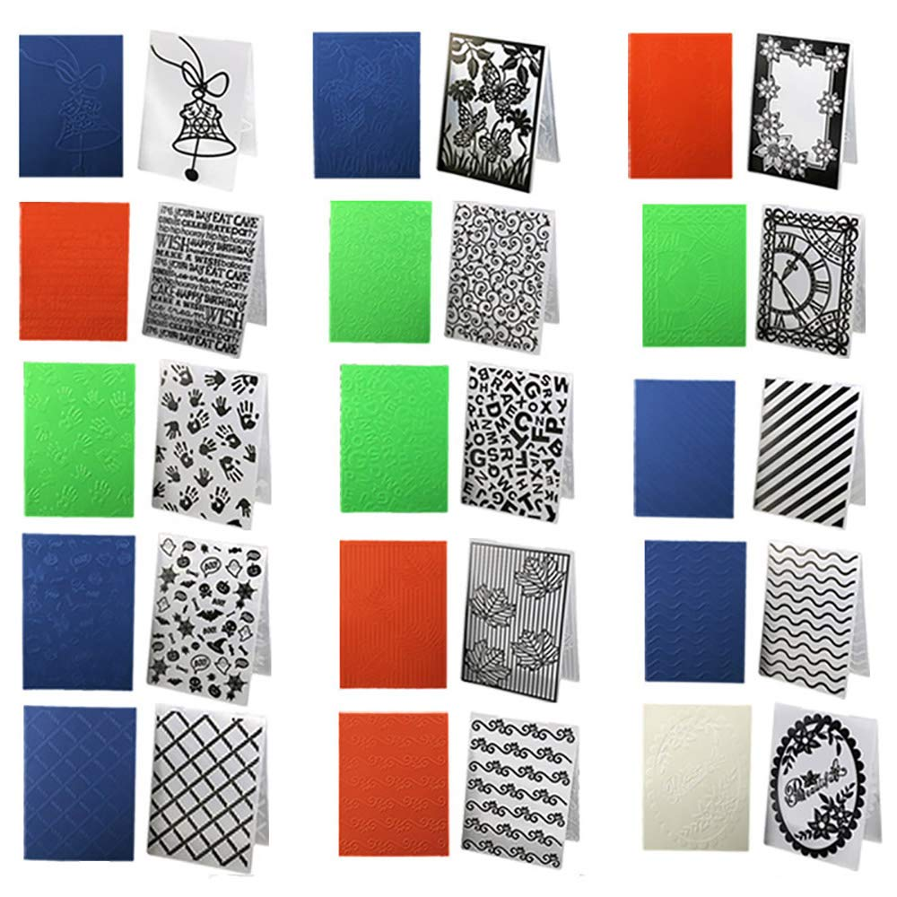 15 Patterns Craft Card Embossing Folder Wedding Decoration Plastic DIY Photo Album Scrapbook Decor Template Embossing Stencils Fondant Cake Decorating Baking Mould Party Supplies by WElinks