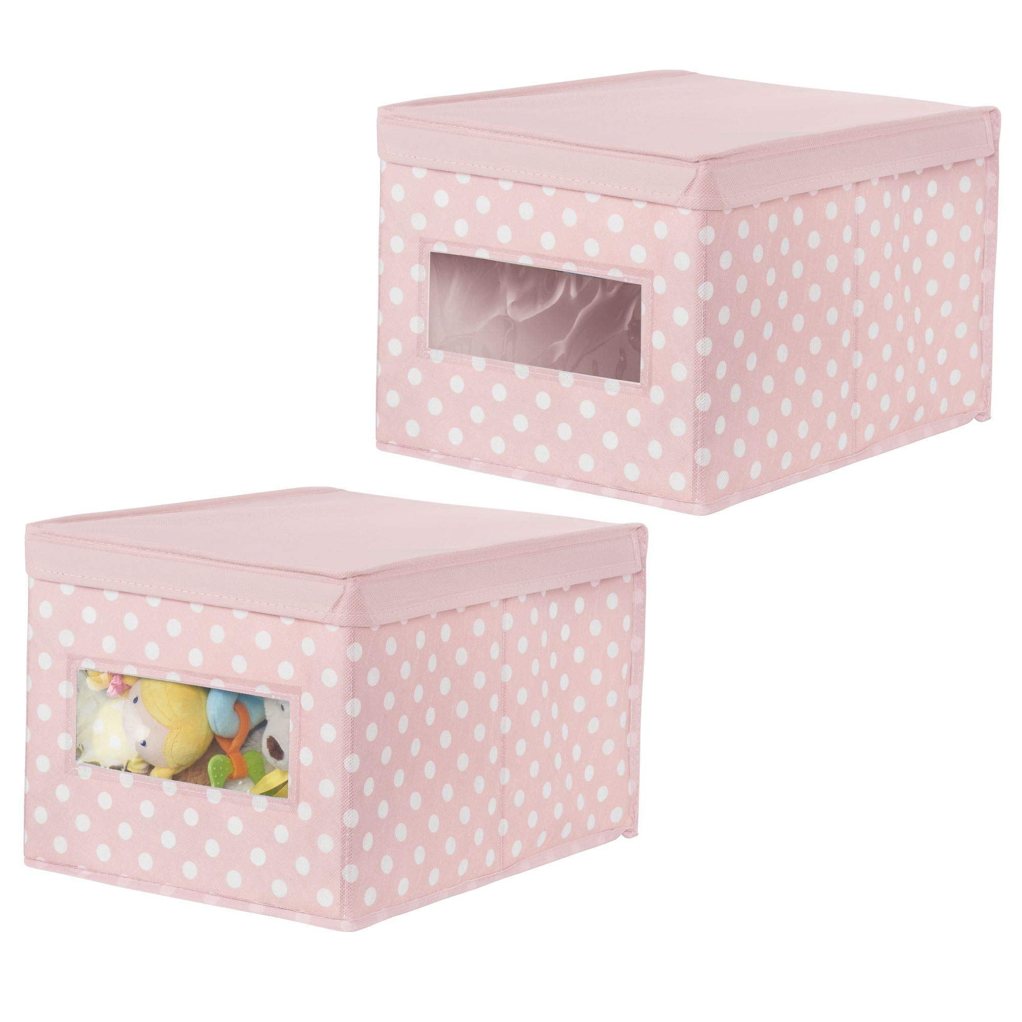 mDesign Soft Stackable Fabric Closet Storage Organizer Holder Box - Clear Window, Attached Hinged Lid, for Child/Kids Room, Nursery, Playroom -Polka Dot Pattern -Large, Pink with White Dots, Pack of 2