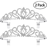 Pixnor 2Pack Princess Tiara with Comb, Crystal Rhinestones Wedding Bridal Tiara Headband