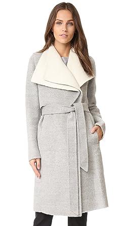 Mackage Iza Asymmetrical Lapel Wool Coat in Grey/Off White: Amazon