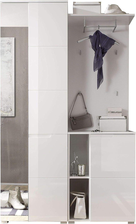 Spilla Guardaroba Completo in Legno Laminato di Colore Bianco//Bianco Lucido AVANTI TRENDSTORE Dimensioni Lap 120x198x40 cm