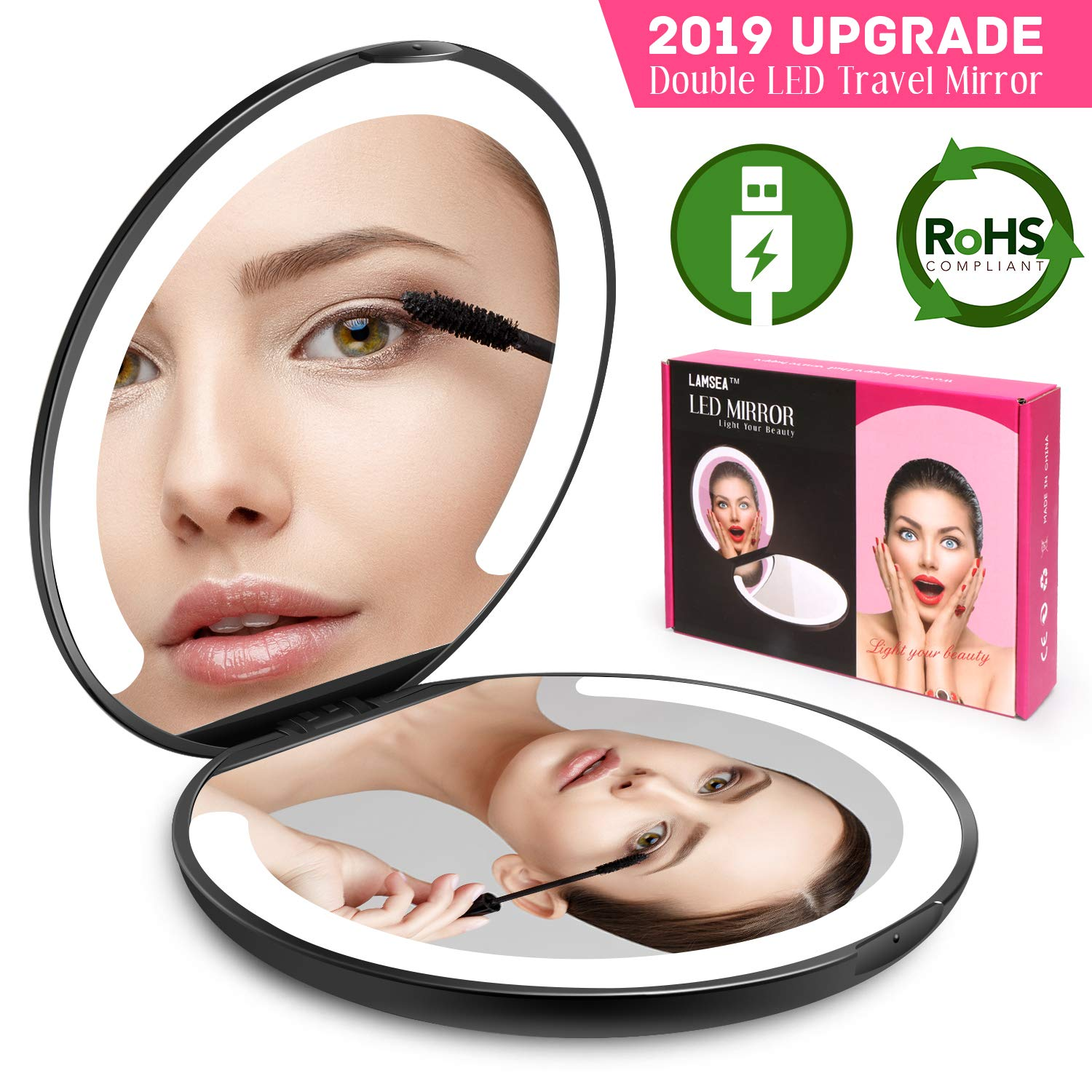 LED Lighted Travel Makeup Mirror Foldable, Dual Sided Vanity Mirror with Lights Portable Compact Illuminated Folding Tabletop Cosmetic Mirror, 1x/5x Magnifying Handheld Pocket Mirrors(2019 Upgrade)