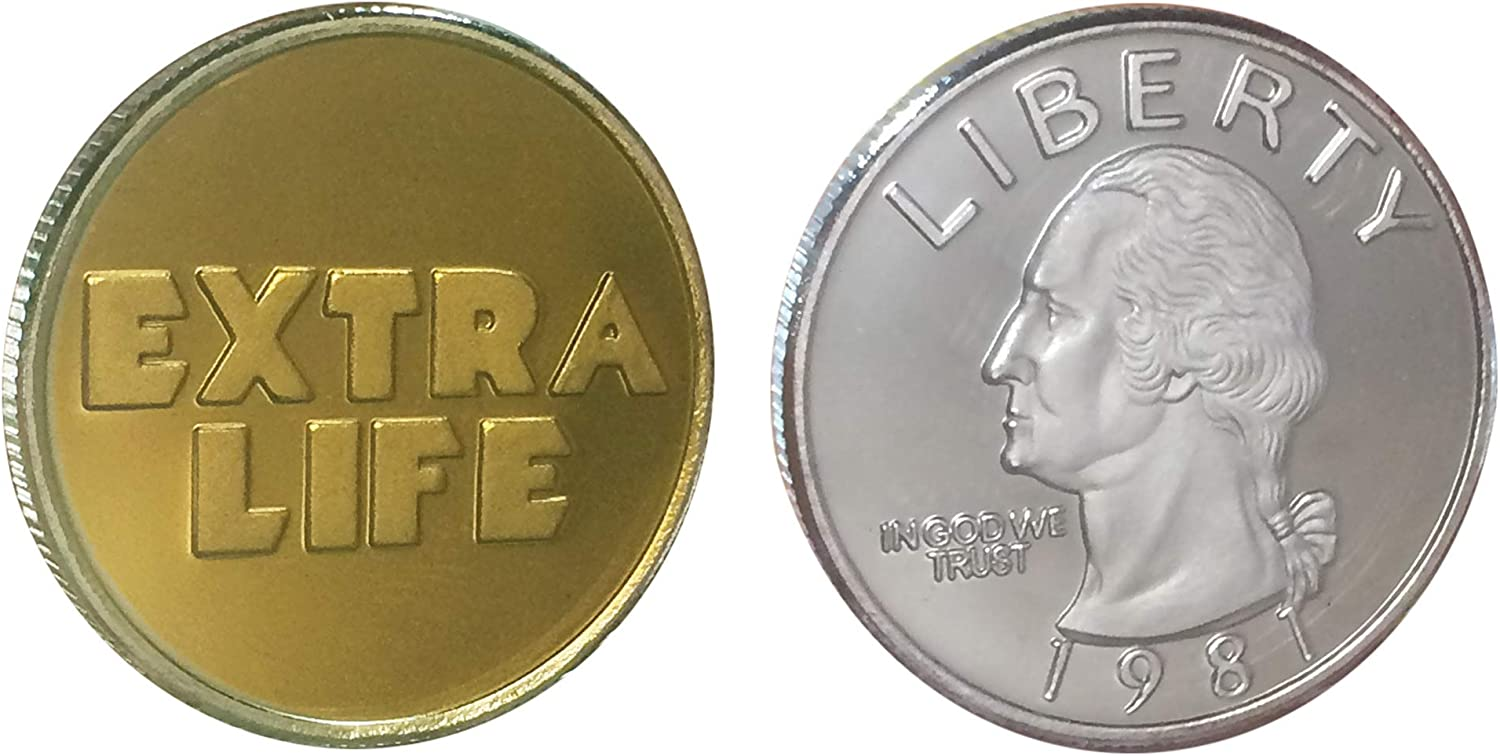 Ready Player One Oasis Extra Life Coin Quarter Props - Extra Life Challenge Coin - Gold-Plated&Silver-Plated