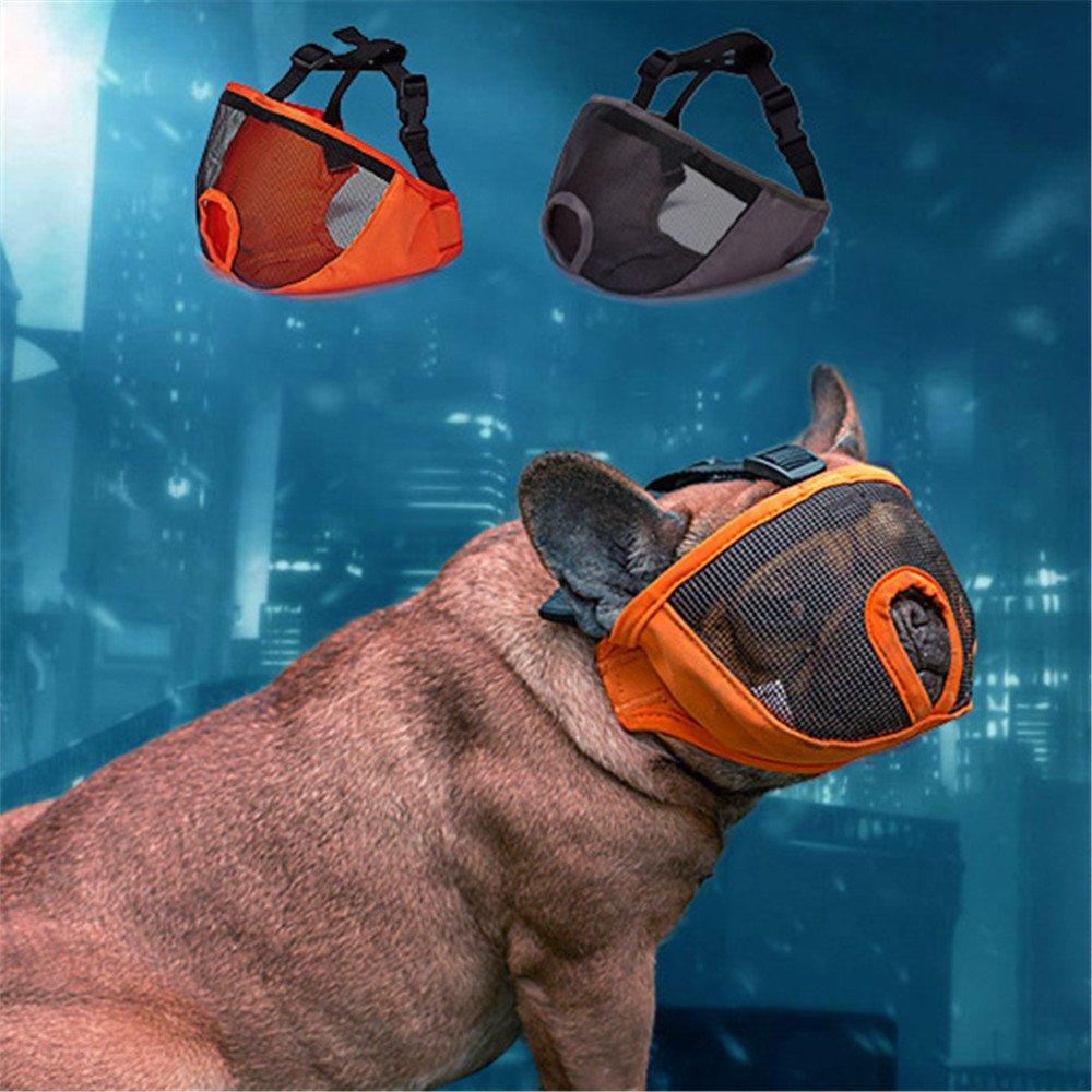 JYHY Short Snout Dog Muzzle- Adjustable Breathable Mesh Bulldog Muzzle for Biting Chewing Barking Training Dog Mask,Gray M