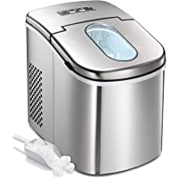 Countertop Ice Maker Machine,Portable Automatic Ice Maker,Ice Cubes Ready in 6 Mins,/1.5lbs Ice Storage,26lbs/24h,Ice Scoop and Basket,See-through Lid,LCD Display (Stainless Steel-2)