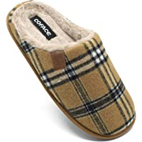 COFACE Zapatillas de Estar en Casa Hombre Tartán Invierno Cálido Forro de Felpa Pantuflas Alta Densidad Espuma de…
