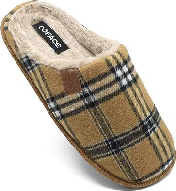 COFACE Zapatillas de Estar en Casa Hombre Tartán Invierno Cálido Forro de Felpa Pantuflas Alta Densidad Espuma de Memoria Zapatos con Antideslizante Suela