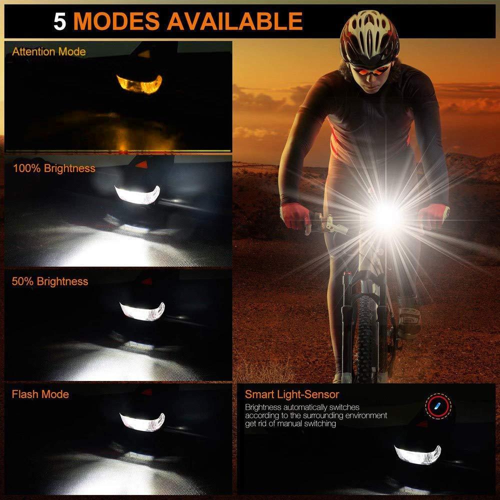 Capacidad de la Bater/ía de 4000 mAh 5 Modos de Lluminaci/ón Juego de Luces para Bicicleta Juego de L/ámparas LED para Bicicleta Recargable USB Impermeable