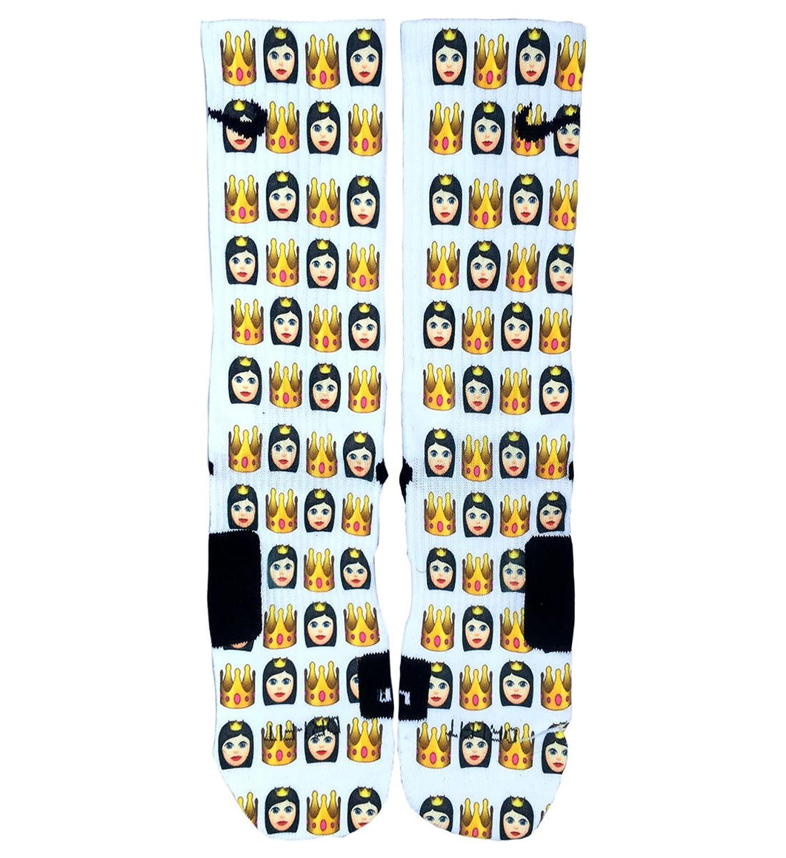 Custom Nike Elite Socks Brunette Queen Emoji