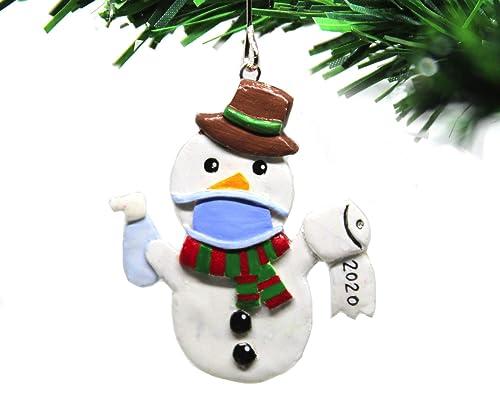 2020  Christmas Snowman Amazon.com: Quarantine Christmas Ornament 2020 Snowman   Face Mask