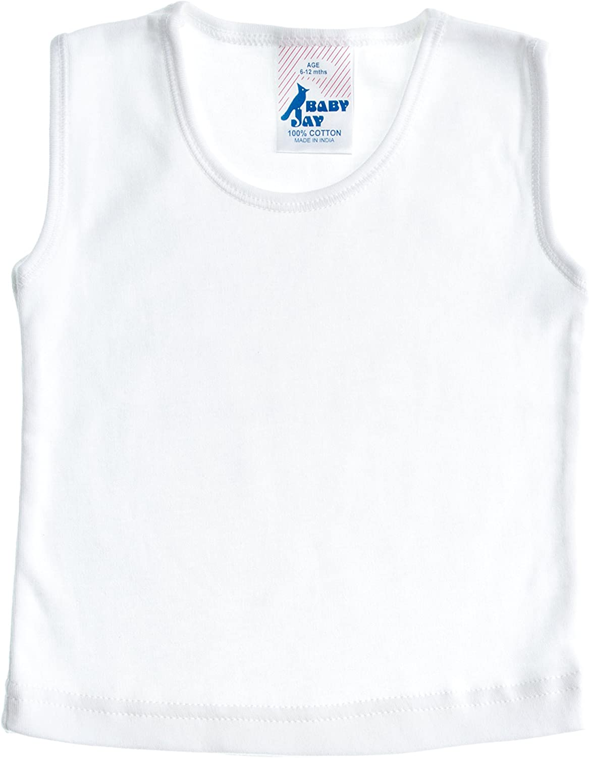 Boys and Girls Tee White Soft Cotton Sleeveless T-Shirt Undershirt Baby Jay Baby and Toddler Tank Top 5 Pack