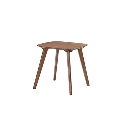 Beau Emerald Home Simplicity Walnut Brown End Table With Curved Top And Round,  Slanted Legs