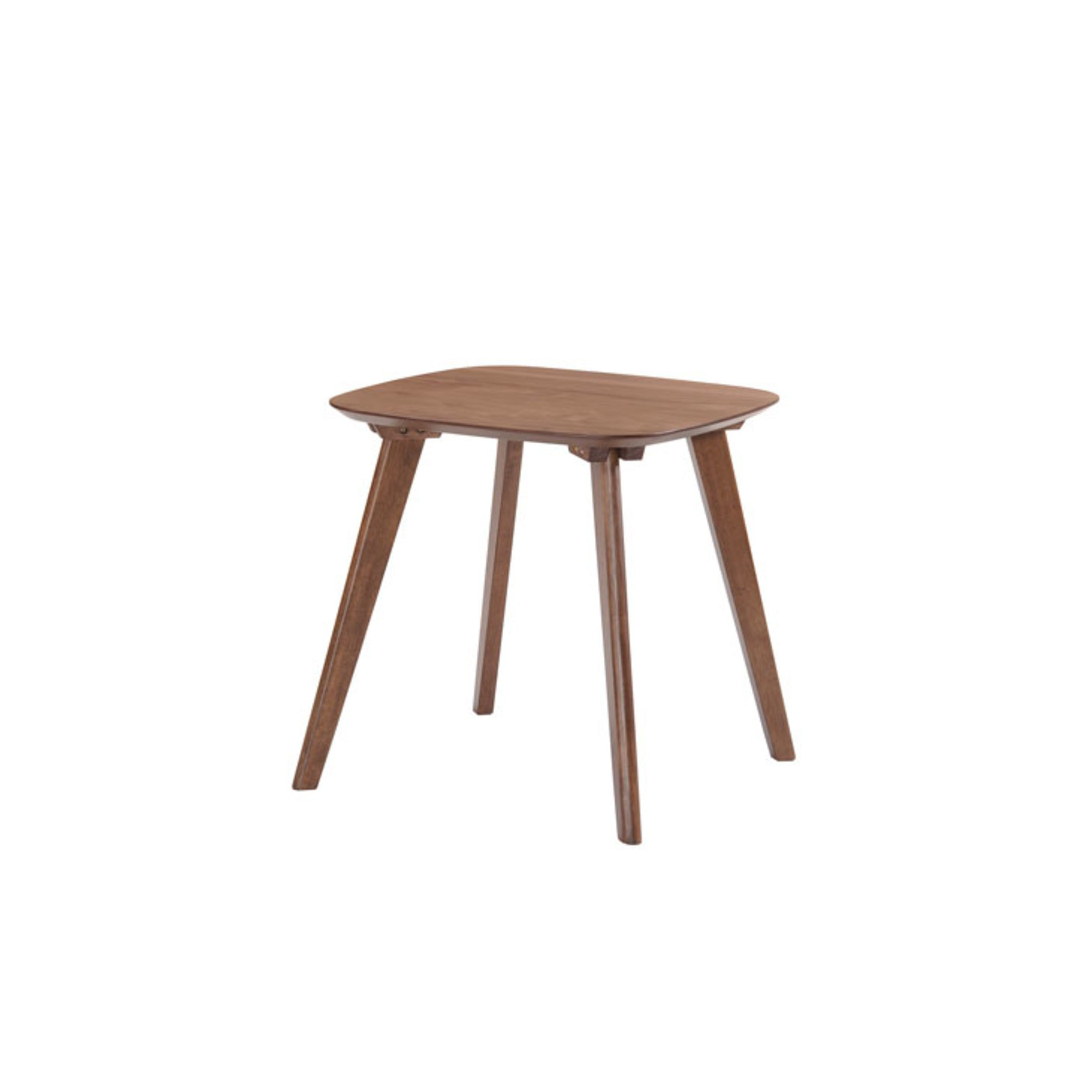 Emerald Home Simplicity Walnut Brown End Table with Curved Top and Round, Slanted Legs