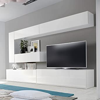 Meuble Tv Mural Design Dublin Atylia Couleur Blanc Amazon Fr