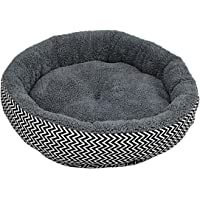 Soft Warm Pet Bed Round Pad Pet Cushion Red Blue V-Shaped Pattern
