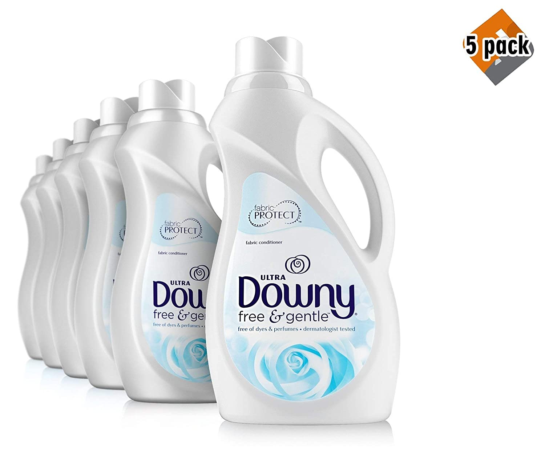 Downy Free & Gentle Liquid Fabric Conditioner (Fabric Softener), 5 Pack