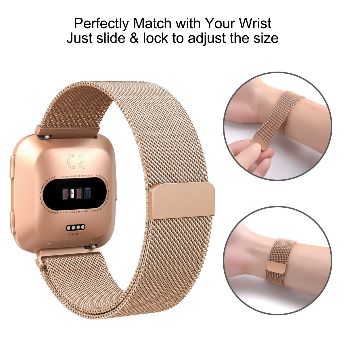 Mercase Fibit Versa Bands,Stainless Steel Milanese Loop Metal Mesh Bracelet Sport Strap with Strong Magnet Lock Wristbands Replacement Band for Fitbit Versa(Rose Gold,Large Size 5.7\'\'-9.2\'\')