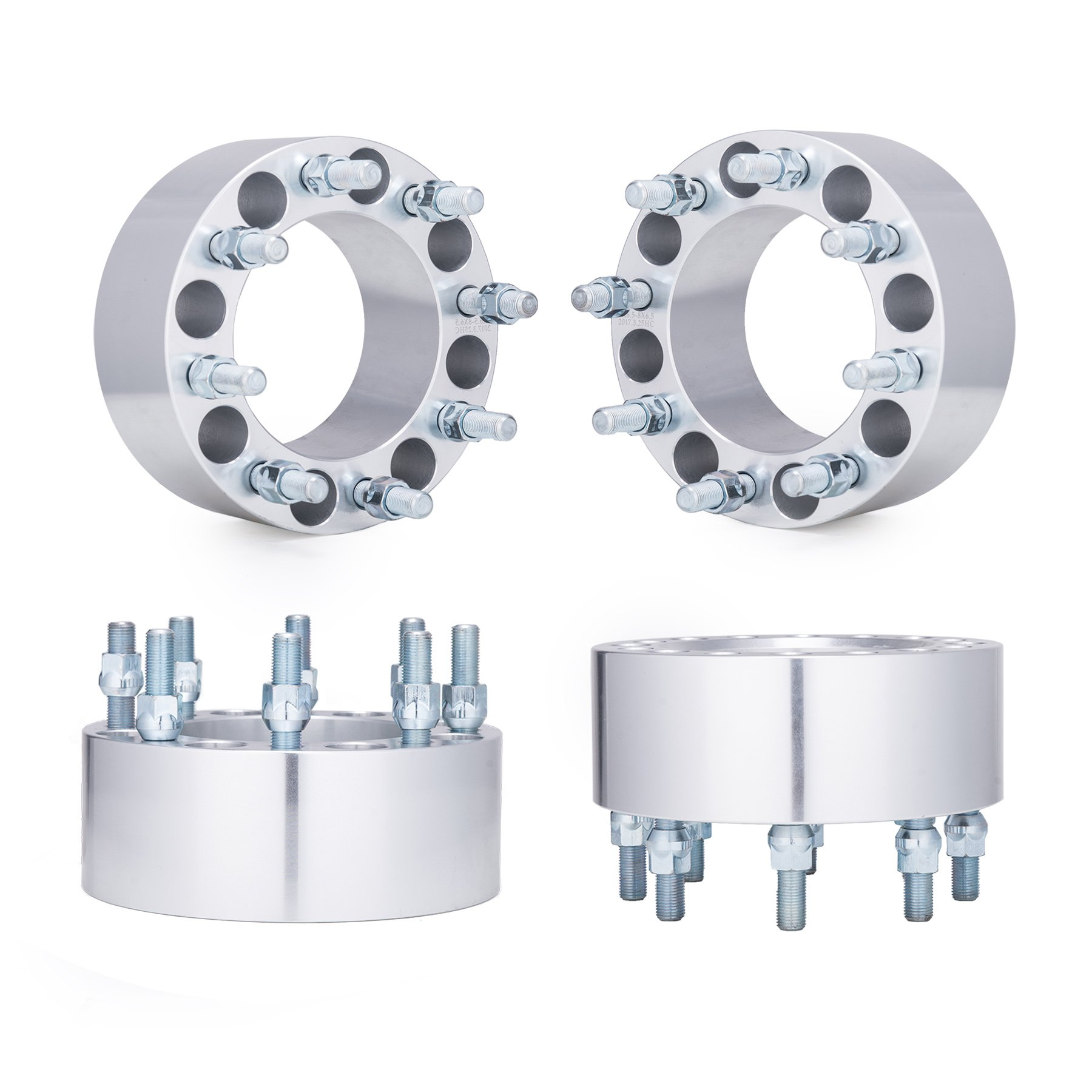 Orion Motor Tech 4pcs 3'' Wheel Spacers 8x6.5 with 9/16-18 Studs for 94-11 Dodge Ram 2500 3500, 88-98 Ford F250 F350, Ford Econoline 250 350