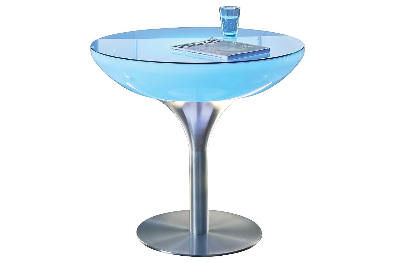 Esstisch Lounge 75 LED Pro Esszimmertisch Leuchttisch Rundtisch by Moree, Tischplatte:mit Glasplatte;Farbsteuerung:RC-Fernbedienung