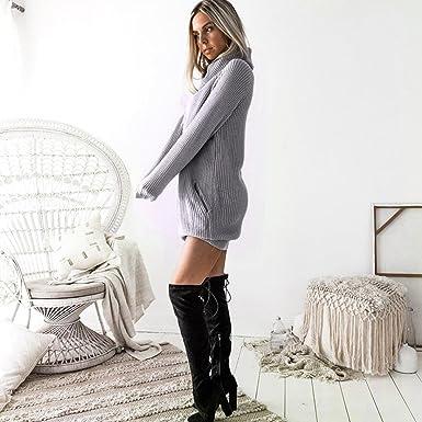 Damen Kleid Sunday Frauen Winter Strickkleid Rollkragenpullover Mode Bodycon Minikleid Bekleidung