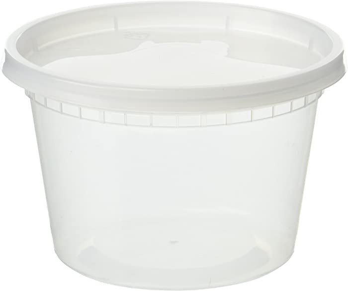 EDI D16050 Plastic Deli Food Storage Containers with Lids 50 Sets (16OZ)
