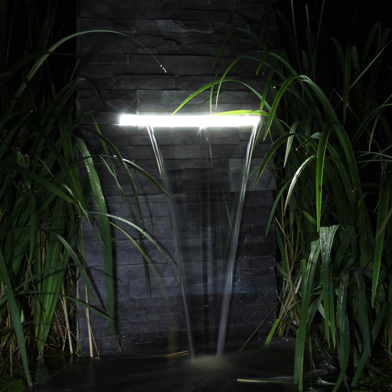Wasserfall Set WFS1 Wasserschwall Mit LED Beleuchtung Und Pumpe Schwarz  1478: Amazon.de: Garten