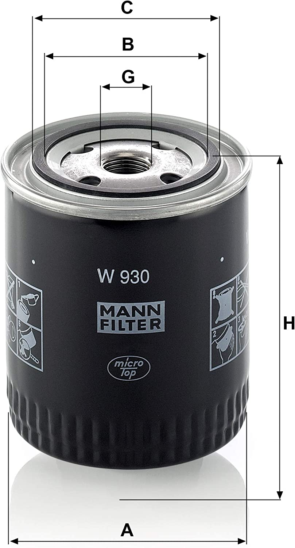 Original Mann Filter Ölfilter W 930 Für Pkw Auto