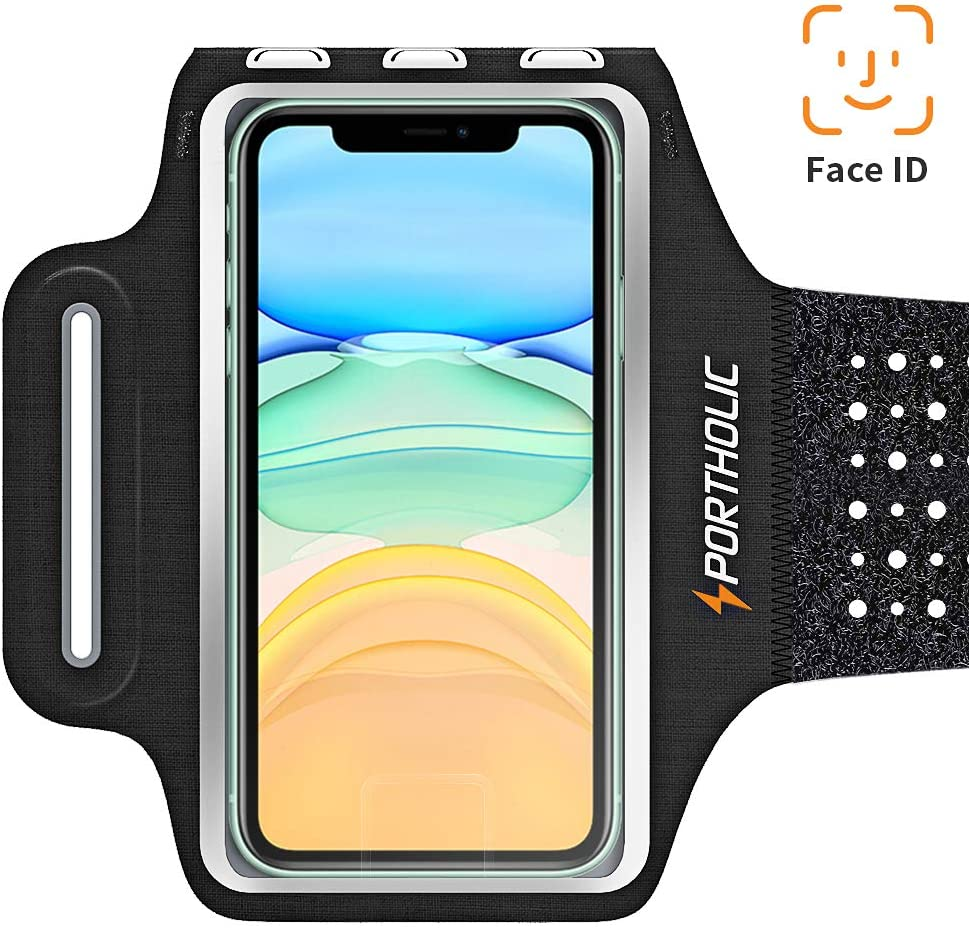 PORTHOLIC Running Arm Bands for Cell Phone, Adjustable Workout Phone Holder Arm Case for iPhone 11/11Pro Max/Xs Max/XR/X/8/7/6s Plus Sports Jogging Band for Samsung Galaxy S10/S9/S8 Plus, Huawei P30