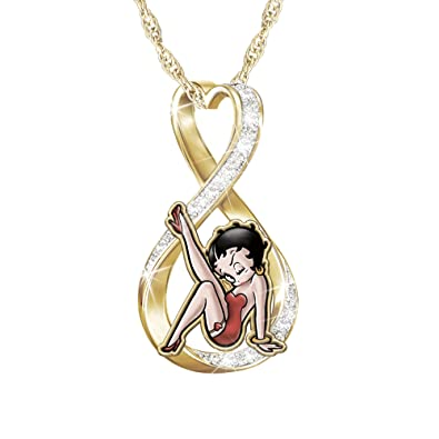 44734ce9314  Forever Betty Boop  Swarovski Crystal Ladies  Pendant -18-Carat  Gold-Plated Infinity Heart Pendant. Exclusive To The Bradford Exchange   Amazon.co.uk  ...