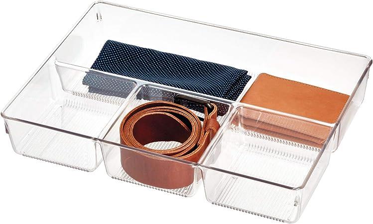 iDesign Caja organizadora para armario o tocador, bandeja organizadora pequeña de plástico, organizador de cajones con 4 compartimentos para accesorios, transparente: Amazon.es: Hogar