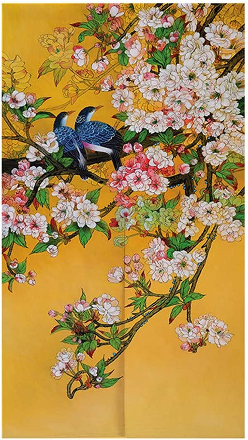 MYRU Japanese Curtain Noren Japanese Curtain Entrance Feng Shui Door Curtain (Birds Flowers - A,33.5 Inches x 59 Inches)