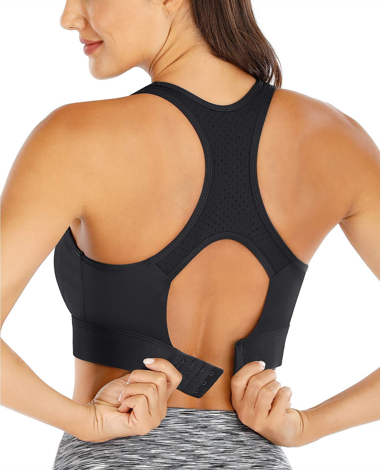 Bdcoco Womens Workout Medium Support Padded Sports Bra Wire-Free Running Shirts YogaTank Top