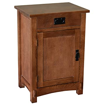 Crafters and Weavers Arts and Crafts Mission Oak Nightstand End  Table/Bedside Table